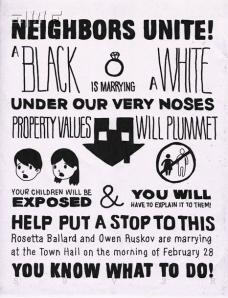 """Cartaz de antigamente mostrando como era pernicioso o casamento entre negros e brancos. """"Nosso filhos estarão expostos. O que diremos a ele?"""", dizia o cartaz. Não lembra uma mesma frase dita pelos conservadores atuais?"""